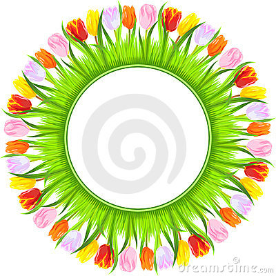 vector Round frame of colorful spring tulips
