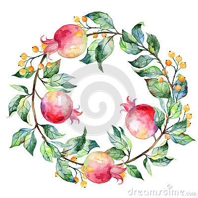Free Vector Round Frame Of Watercolor Pomegranate And Berries. Stock Photo - 54497400