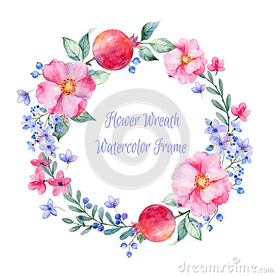 Free Vector Round Frame Of Watercolor Roses. Pomegranate And Berries. Royalty Free Stock Images - 54497299