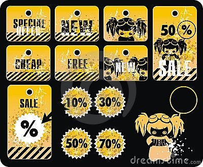 Vector sale tag stickers