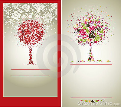 Vector sample of design with tree from flowers