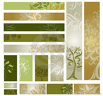 Free Vector Samples Of Web-design (banners) With Tree. Stock Images - 16466754