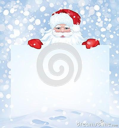 Vector Santa Claus  hiding by blank on snowfall background.