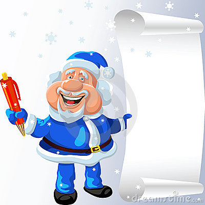 vector Santa Claus with a pen and a scroll