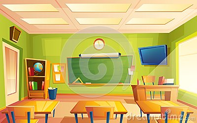 Vector school classroom interior, training room. University, educational concept, blackboard, table college furniture Vector Illustration