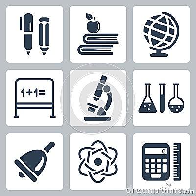 Vector school icons set