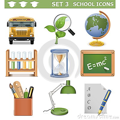 Vector School Icons Set 3