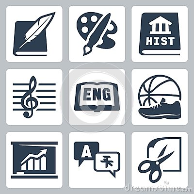 Free Vector School Subjects Icons Set: Literature, Art, History, Music, English, PE, Economics, Foreign Languages, Crafts Stock Image - 38522991