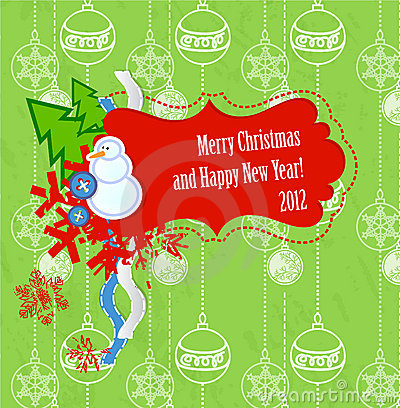 Vector scrapbook Christmas and New Year card