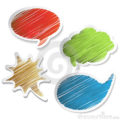 Vector scratch speech bubble stickers