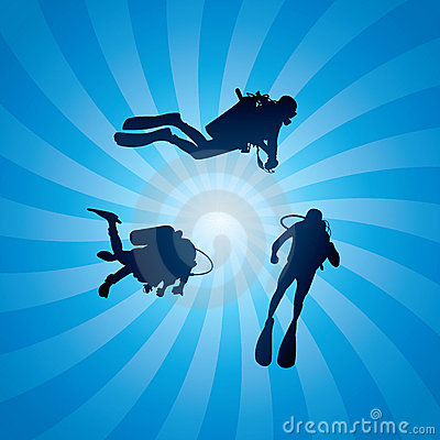 vector scuba divers underwater