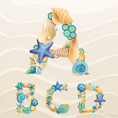 Free Vector Sea Life Font On Sand Background Royalty Free Stock Photography - 24554477