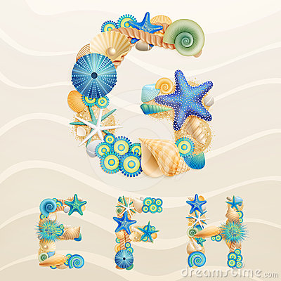 Free Vector Sea Life Font On Sand Background. Royalty Free Stock Photo - 24554525