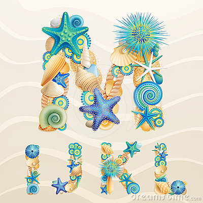 Free Vector Sea Life Font On Sand Background. Royalty Free Stock Photo - 24554595