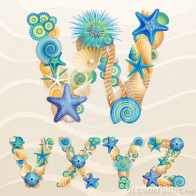 Free Vector Sea Life Font On Sand Background Stock Image - 24554751