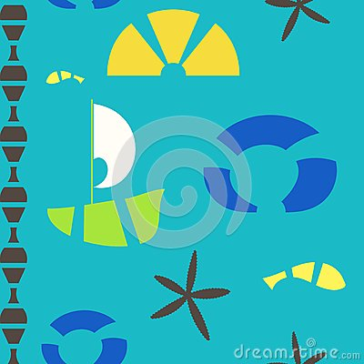 Vector sea objects seamless pattern