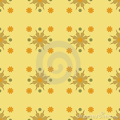 Vector Seamles Geometric Yellow Flower Pattern
