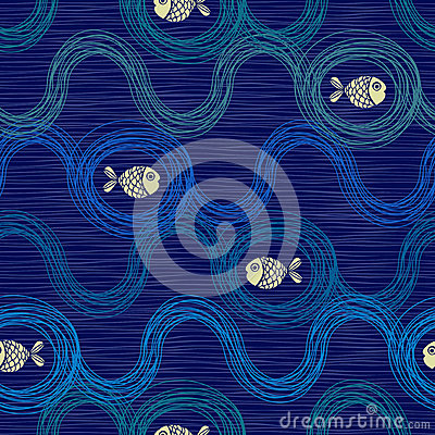 Vector seamless background of cartoon funny fishes and waves .