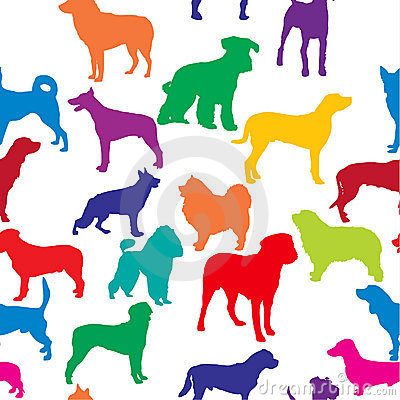 Vector seamless background with dogs silhouettes
