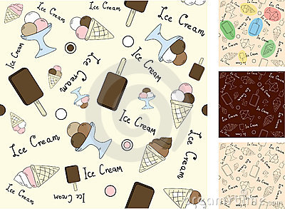 Vector seamless background with ice cream