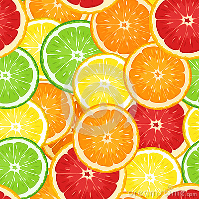 Free Vector Seamless Background With Citrus Fruits. Royalty Free Stock Photography - 29669327