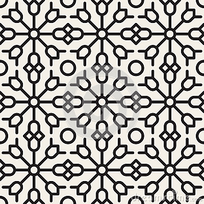 Free Vector Seamless Black And White Geometric Ethnic Floral Line Ornament Pattern Royalty Free Stock Image - 62069236