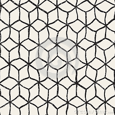 Free Vector Seamless Black And White Hand Drawn Distorted Lines Cube Shape Grunge Retro Pattern Stock Photography - 65602482