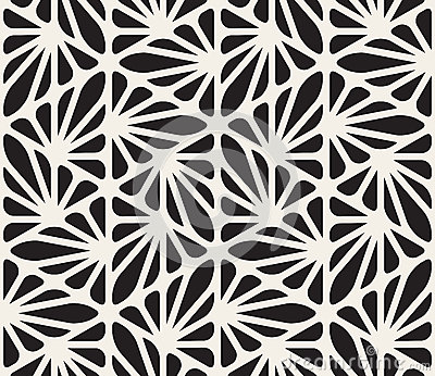 Vector Seamless Black and White Floral Organic Triangle Lines Hexagonal Geometric Pattern Vector Illustration