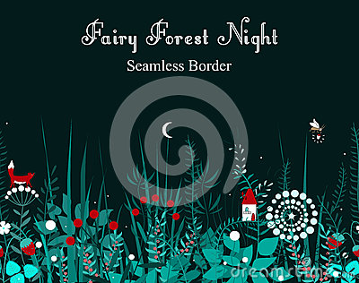 Vector seamless border with forest plants, and fairy house. Background for frames, decorative scotch tape, books, kids Vector Illustration