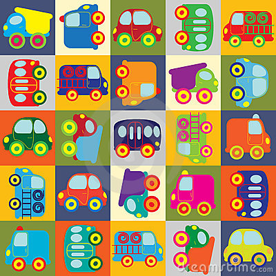 Vector seamless cartoon cars