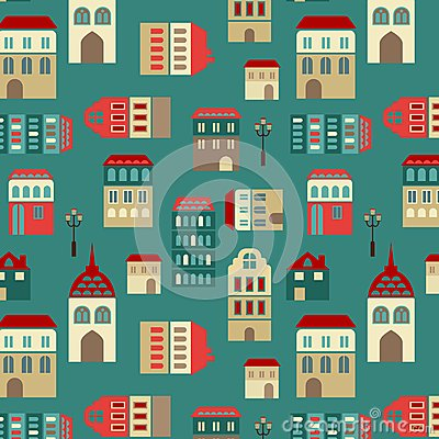 Vector seamless city pattern