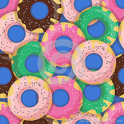 Free Vector Seamless Doughnut Or Donut Pattern. Design For Cards, Menu, Textile, Fabric.  Stock Images - 64405204