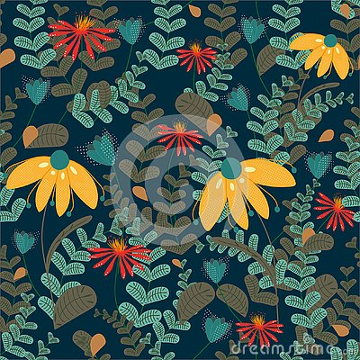 Vector seamless floral pattern on dark coloured background. Leaves and flowers pattern Vector Illustration