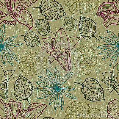 Vector seamless floral pattern with herbarium