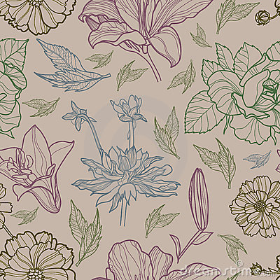 Free Vector Seamless Floral Pattern With Herbarium Stock Images - 21176554