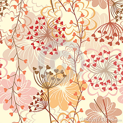 Vector Seamless Floral Retro Background Royalty Free Stock ...