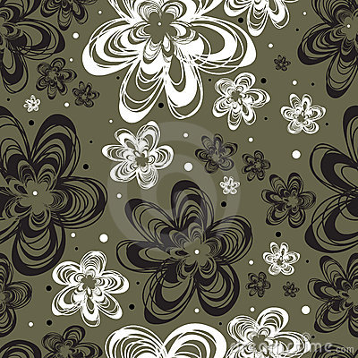 Vector Seamless freehand floral pattern