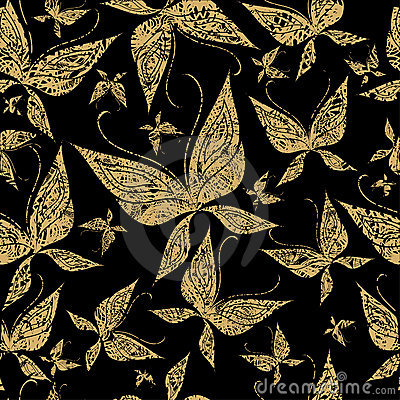 Vector seamless grunge pattern with butterfly