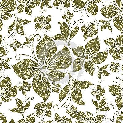 Vector Seamless grunge vintage floral pattern