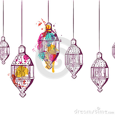 Free Vector Seamless Horizontal Background With Hand Drawn Watercolor Lanterns. Royalty Free Stock Photos - 72656828