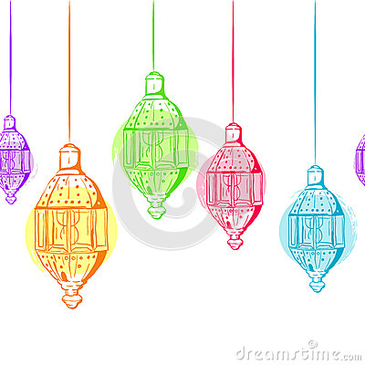Free Vector Seamless Horizontal Background With Outline Lanterns. Stock Images - 72656754