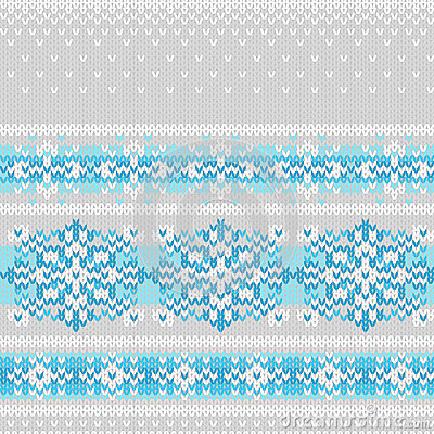 Vector seamless knitted pattern with snowflakes