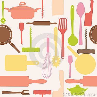 Free Vector Seamless Of Kitchen Tools. Royalty Free Stock Photography - 22189687