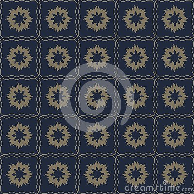 Vector seamless pattern of abstract flowers in subtle dark color Vector Illustration