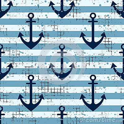 Free Vector Seamless Pattern Background With Anchor, Horizontal Lines Creative Geometric Vintage Backgrounds, Nautical Theme Graphic Il Stock Photos - 91289723