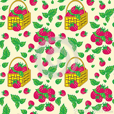 Vector seamless pattern with baskets