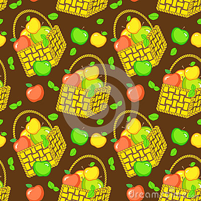 Vector seamless pattern with baskets of apples