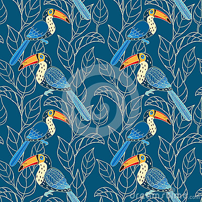 Vector seamless pattern with birds and leaves