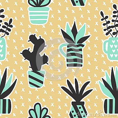 Vector seamless pattern with black succulents and houseplants in vase Vector Illustration