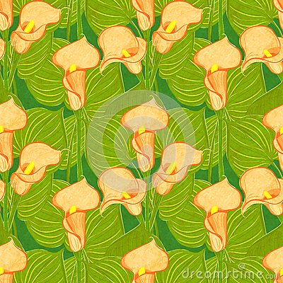 Vector seamless pattern with calla